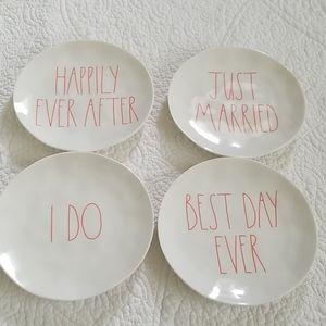 Rae Dunn Melamine Wedding Plates- Set of Four